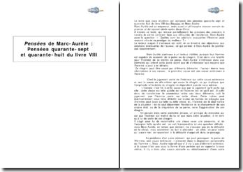 Pensées de Marc-Aurèle : pensées quarante-sept et quarante-huit du livre VIII