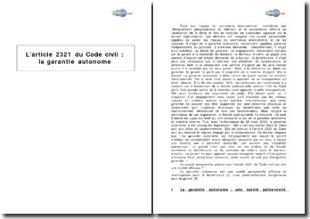 L'article 2321 du Code civil: la garantie autonome