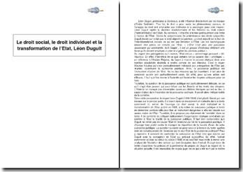 Le droit social, le droit individuel et la transformation de l'Etat, Léon Duguit