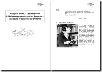 Croissance et initiation du garçon chez les Arapesh, in Moeurs et sexualité en Océanie, de Margaret Mead
