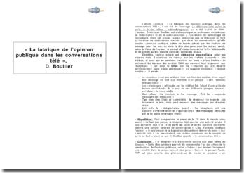 « La fabrique de l'opinion publique dans les conversations télé », Dominique Boullier