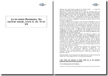 La loi selon Rousseau, Du contrat social, livre II, chapitre VI et VII