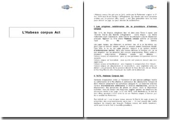 L'Habeas corpus Act