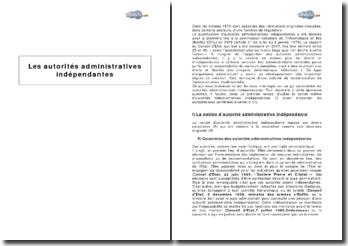 Notion et compétences des autorités administratives indépendantes