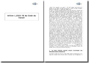 Article L.2323-78 du Code du travail - les procédures d'alerte en prévention de la cessation des paiements