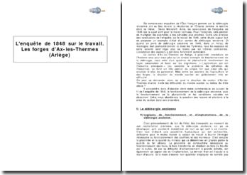 Extrait de l'enquête de 1848 sur le travail - les forges d'Ax-les-Thermes (Ariège)