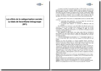 Les effets de la catégorisation sociale : le biais de favoritisme intragroupe (BFI)