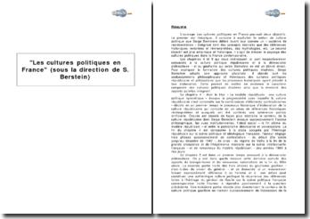 Chapitres 4 et 5, Les cultures politiques en France, sous la direction de Serge Berstein - la culture politique républicaine et la démocratie plébiscitaire