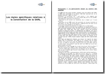 Les règles spécifiques relatives à la constitution de la SARL