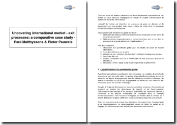 Uncovering international market - exit processes : a comparative case study, de Paul Matthyssens & Pieter Pauwels - comparaison d'exemples de retraits stratégiques de produits du marché international