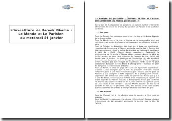 L'investiture de Barack Obama: Le Monde et Le Parisien du mercredi 21 janvier 2009 - Analyse comparative des deux articles