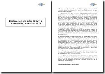 Déclaration de Jules Grévy à l'Assemblée, 6 février 1879
