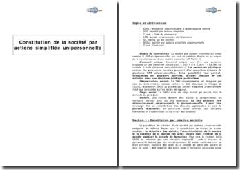 Constitution de la société par actions simplifiée (SAS) unipersonnelle