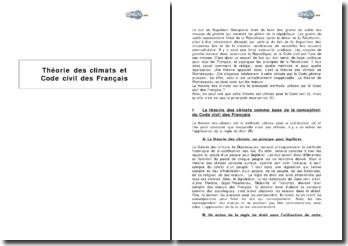 Théorie des climats et Code civil des Français