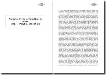 Tarente livrée à Hannibal en hiver 212 - Polybe, VIII 24-25