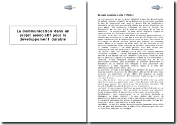 La communication dans un projet associatif pour le développement durable
