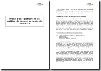 Droits d'enregistrement en matière de cession de fonds de commerce