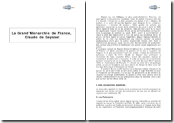 La Grand'Monarchie de France, Claude de Seyssel - la position du roi face à la justice au 16e siècle