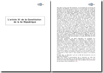 L'article 51 de la Constitution de la IVe république - la dissolution