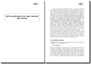 Ecrits politiques de Jean Juvénal des Ursins
