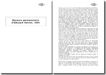 Discours parlementaire d'Edouard Herriot, 1954 - la Communauté Européenne de Défense