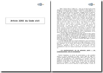 Article 2292 du Code civil - formalisme du cautionnement