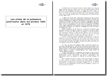 Les crises de la puissance américaine dans les années 1960 et 1970