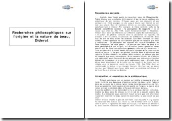 Recherches philosophiques sur l'origine et la nature du beau, Diderot