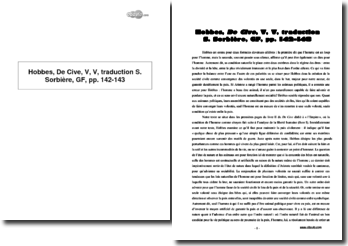 Hobbes, De Cive, V, V, traduction S. Sorbière, GF, pp. 142-143