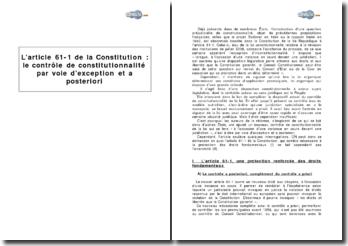 L'article 61-1 de la Constitution : le contrôle de constitutionnalité par voie d'exception et a posteriori