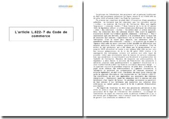 L'article L.622-7 du Code de commerce - le principe de l'interdiction des paiements dans une procédure collective