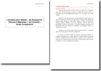 « Sonnets pour Hélène » de Ronsard et « Stances à Marquise » de Corneille : étude comparative