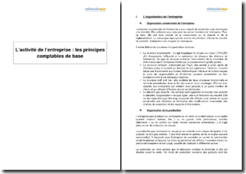 L'activité de l'entreprise : les principes comptables de base