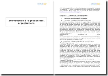 Introduction à la gestion des organisations