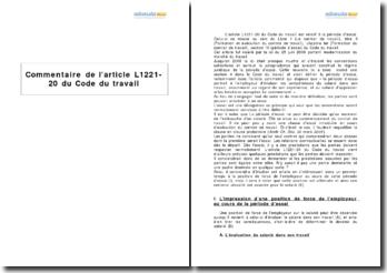 Article L1221-20 du Code du travail - la période d'essai