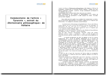 Article « Tyrannie », extrait du « Dictionnaire philosophique » de Voltaire
