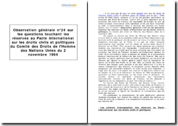 Observation générale nº24 sur les questions touchant les réserves au Pacte international sur les droits civils et politiques du Comité des Droits de l'Homme des Nations Unies du 2 novembre 1994