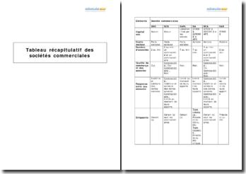 Tableau récapitulatif des caractéristiques des sociétés commerciales