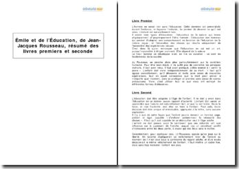 Emile, ou de l'Education, de Jean-Jacques Rousseau, résumé des livres premier et second