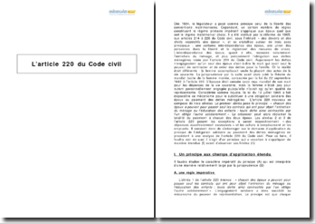 L'article 220 du Code civil - l'obligation aux dettes ménagères des deux époux