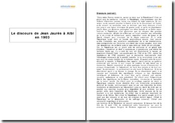 Le discours de Jean Jaurès à Albi en 1903