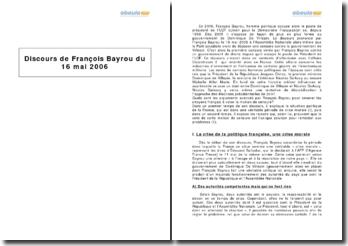 Discours de François Bayrou du 16 mai 2006 - censure contre le gouvernement de Villepin