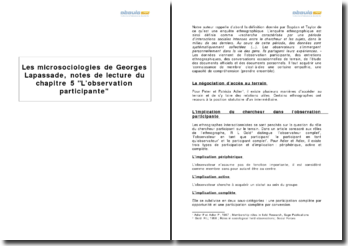 Les microsociologies, de Georges Lapassade, chapitre 5 L'observation participante