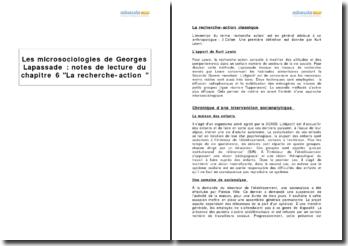 Les microsociologies, de Georges Lapassade, chapitre 6 La recherche-action