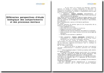 Différentes perspectives d'étude biologique des comportements et des processus mentaux