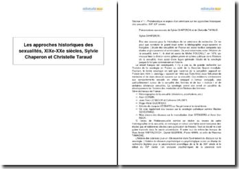 Les approches historiques des sexualités, XIXe-XXe siècles, Sylvie Chaperon et Christelle Taraud