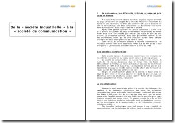 De la «société industrielle» à la «société de communication»