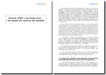 Article 1844-1 du Code civil: les bases du contrat de société