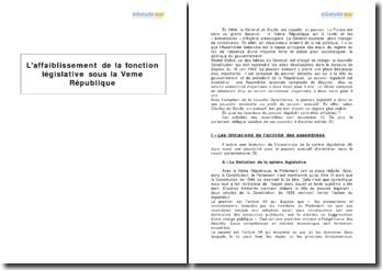 L'affaiblissement de la fonction législative sous la Ve République