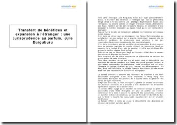 Transfert de bénéfices et expansion à l'étranger : une jurisprudence au parfum, Julie Burguburu